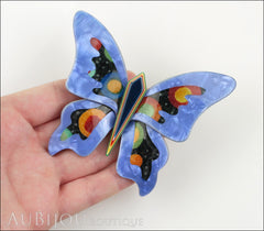 Lea Stein Elfe The Butterfly Insect Brooch Pin Blue Celestial Multicolor Model