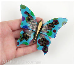 Lea Stein Elfe The Butterfly Insect Brooch Pin Blue Polka Dots Multicolor Model