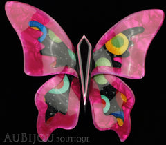 Lea Stein Elfe The Butterfly Insect Brooch Pin Fuchsia Celestial Multicolor Black