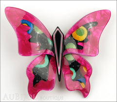 Lea Stein Elfe The Butterfly Insect Brooch Pin Fuchsia Celestial Multicolor Front