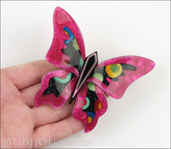 Lea Stein Elfe The Butterfly Insect Brooch Pin Fuchsia Celestial Multicolor Model