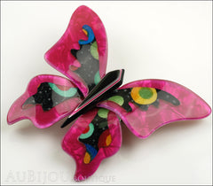 Lea Stein Elfe The Butterfly Insect Brooch Pin Fuchsia Celestial Multicolor Side