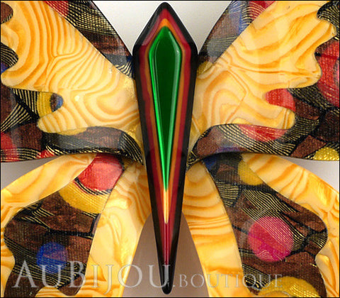 Lea Stein Elfe The Butterfly Insect Brooch Pin Light Orange Green Multicolor Gallery