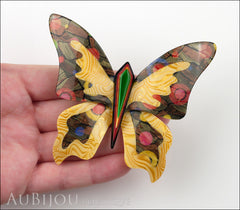 Lea Stein Elfe The Butterfly Insect Brooch Pin Light Orange Green Multicolor Model
