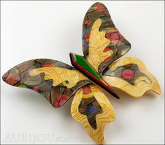 Lea Stein Elfe The Butterfly Insect Brooch Pin Light Orange Green Multicolor Side