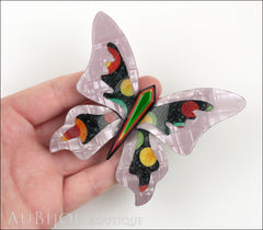 Lea Stein Elfe The Butterfly Insect Brooch Pin Lilac Green Celestial Multicolor Model