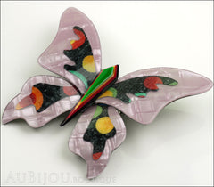 Lea Stein Elfe The Butterfly Insect Brooch Pin Lilac Green Celestial Multicolor Side