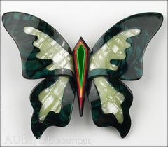 Lea Stein Elfe The Butterfly Insect Brooch Pin MOP Green Front