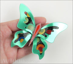 Lea Stein Elfe The Butterfly Insect Brooch Pin Mint Green Red Celestial Multicolor Model