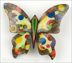 Lea Stein Elfe The Butterfly Insect Brooch Pin Multicolor Polka Dots Front