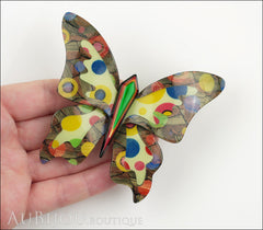 Lea Stein Elfe The Butterfly Insect Brooch Pin Multicolor Polka Dots Model