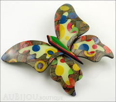 Lea Stein Elfe The Butterfly Insect Brooch Pin Multicolor Polka Dots Side
