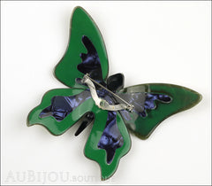 Lea Stein Elfe The Butterfly Insect Brooch Pin Mustard Green Turquoise Beige Back