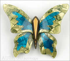 Lea Stein Elfe The Butterfly Insect Brooch Pin Mustard Green Turquoise Beige Front