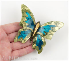 Lea Stein Elfe The Butterfly Insect Brooch Pin Mustard Green Turquoise Beige Model