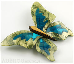 Lea Stein Elfe The Butterfly Insect Brooch Pin Mustard Green Turquoise Beige Side