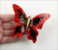 Lea Stein Elfe The Butterfly Insect Brooch Pin Pearly Red Black Gold Model