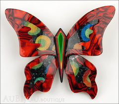 Lea Stein Elfe The Butterfly Insect Brooch Pin Red Green Celestial Multicolor Front