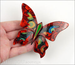 Lea Stein Elfe The Butterfly Insect Brooch Pin Red Green Celestial Multicolor Model