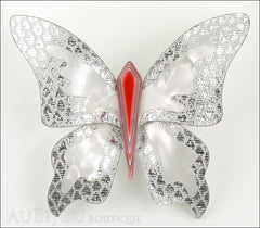 Lea Stein Elfe The Butterfly Insect Brooch Pin Silver White Red Front