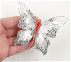 Lea Stein Elfe The Butterfly Insect Brooch Pin Silver White Red Model