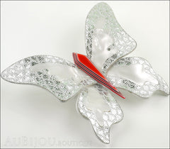 Lea Stein Elfe The Butterfly Insect Brooch Pin Silver White Red Side