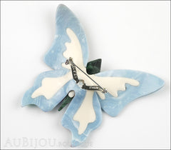 Lea Stein Elfe The Butterfly Insect Brooch Pin Turquoise Blue Pearly White Back