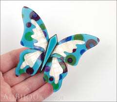 Lea Stein Elfe The Butterfly Insect Brooch Pin Turquoise Blue Pearly White Model