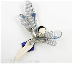 Lea Stein Fairy Demoiselle Volage Brooch Pin Blue Black Grey Back