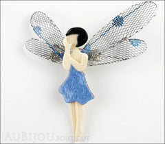 Lea Stein Fairy Demoiselle Volage Brooch Pin Blue Black Grey Front