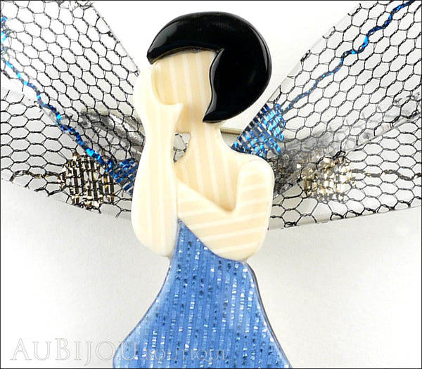 Lea Stein Fairy Demoiselle Volage Brooch Pin Blue Black Grey Gallery