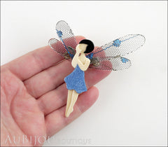Lea Stein Fairy Demoiselle Volage Brooch Pin Blue Black Grey Model