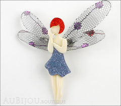 Lea Stein Fairy Demoiselle Volage Brooch Pin Blue Grey Red Front