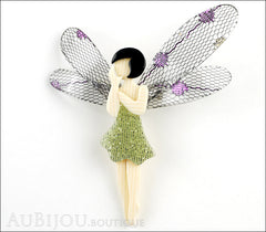 Lea Stein Fairy Demoiselle Volage Brooch Pin Green Black Purple Front