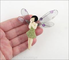 Lea Stein Fairy Demoiselle Volage Brooch Pin Green Black Purple Model