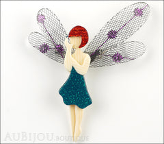 Lea Stein Fairy Demoiselle Volage Brooch Pin Green Red Purple Front