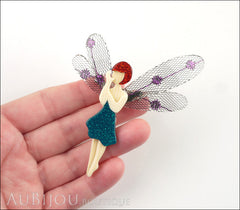 Lea Stein Fairy Demoiselle Volage Brooch Pin Green Red Purple Model