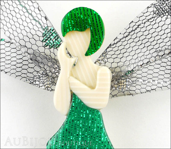 Lea stein fairy demoiselle volage brooch pin green silver for Lea boutique