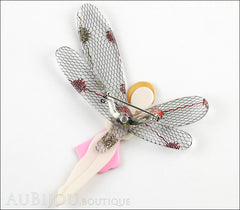Lea Stein Fairy Demoiselle Volage Brooch Pin Pink Red Grey Back