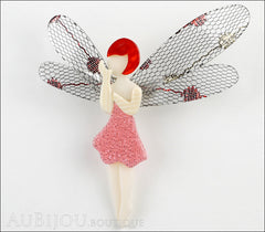 Lea Stein Fairy Demoiselle Volage Brooch Pin Pink Red Grey Front