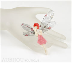 Lea Stein Fairy Demoiselle Volage Brooch Pin Pink Red Grey Mannequin