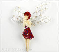 Lea Stein Fairy Demoiselle Volage Magic Wings Red Gold Front