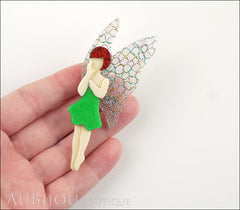 Lea Stein Fairy Demoiselle Voltige Brooch Pin Green Red Multicolor Model