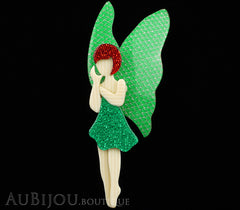 Lea Stein Fairy Demoiselle Voltige Brooch Pin Green Red Silver Black
