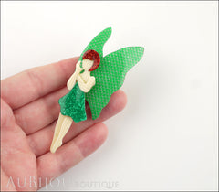 Lea Stein Fairy Demoiselle Voltige Brooch Pin Green Red Silver Model
