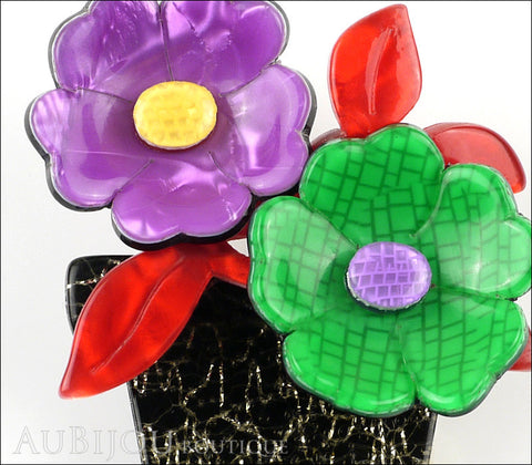 Lea Stein Flower Pot Brooch Pin Purple Green Red Black Gallery