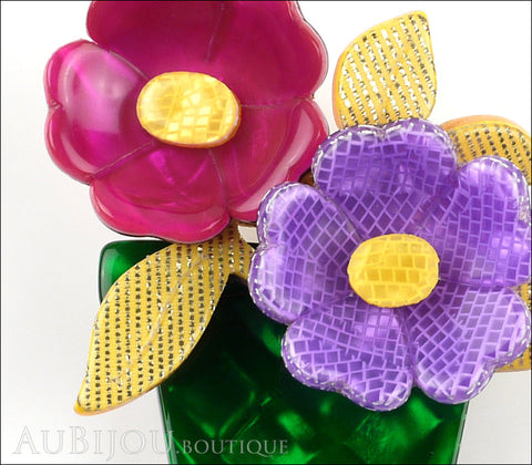Lea Stein Flower Pot Brooch Pin Purple Lavander Yellow Green Gallery