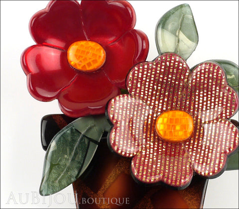Lea Stein Flower Pot Brooch Pin Terracotta Burgundy Gold Green Gallery