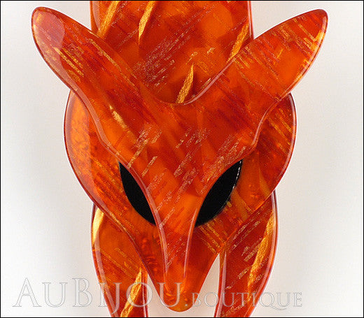 Lea Stein Fox Brooch Pin Amber Gold Black Gallery