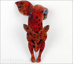 Lea Stein Fox Brooch Pin Amphibian Red Black Front